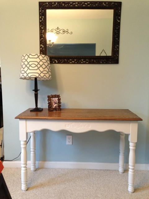Gray oak entry hall table