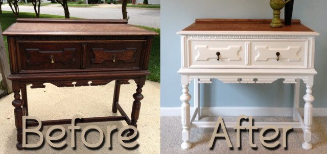 BeforeAfter-AntiqueOakHallTable