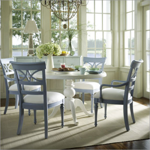 Blue Chairs with a white painted table