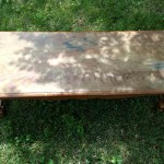 oak coffee table with faux drawer
