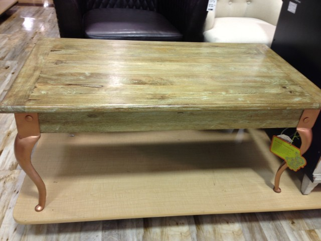 Coffee table - green stain & copper legs