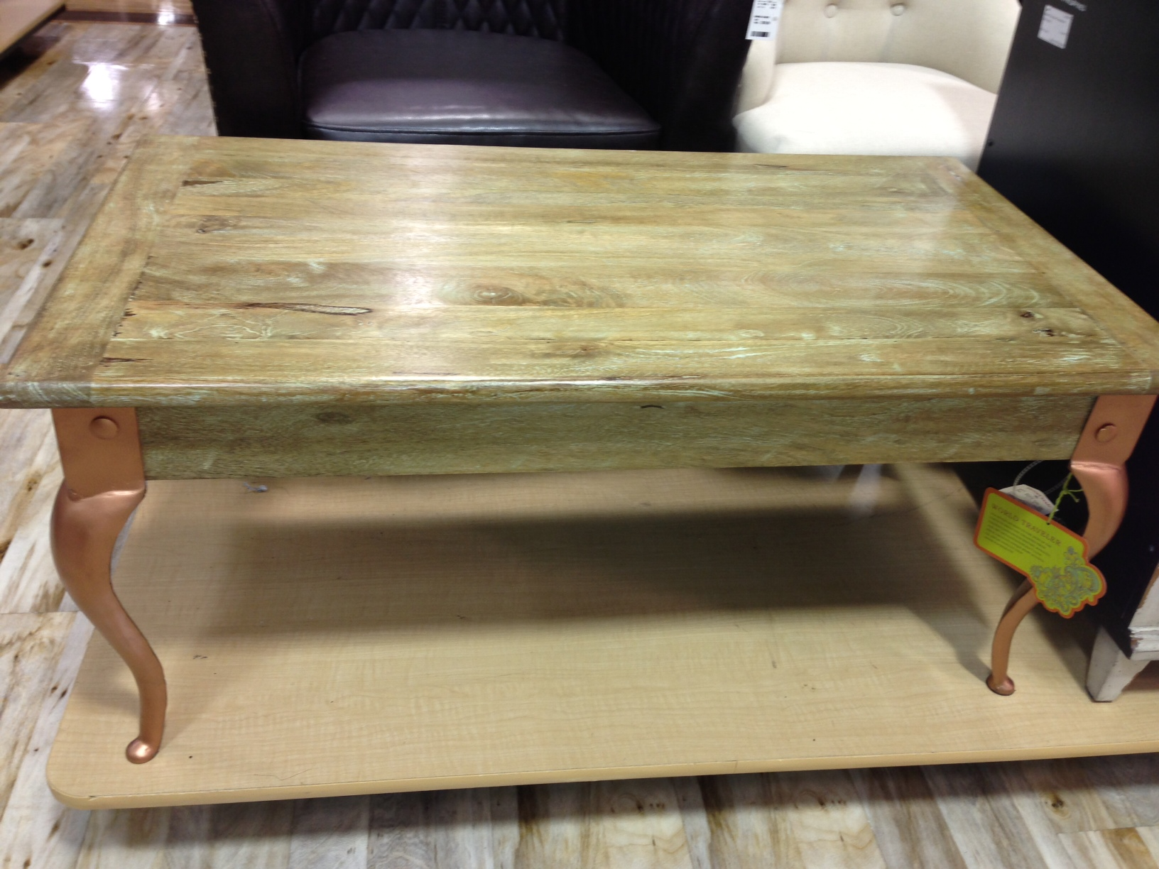 Olive green stained coffee table with copper legs Fresh Vintage NC