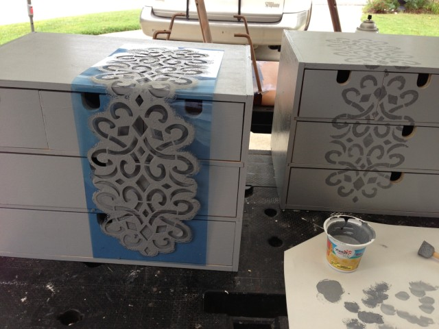 Stenciling the Ikea Moppe drawers