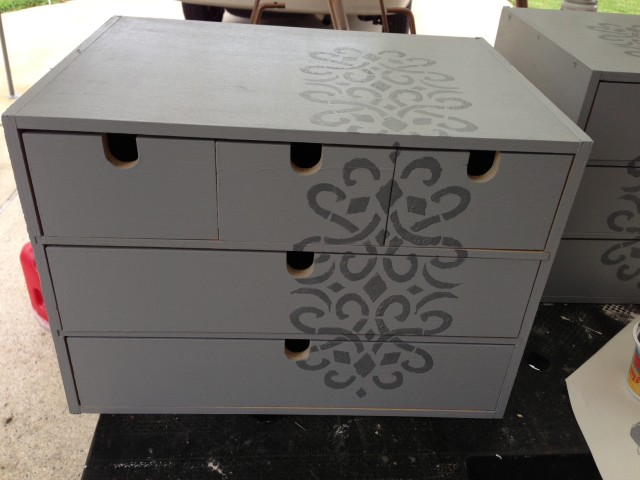 Stenciling done on the Ikea Moppe drawers