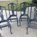 Mahogany chairs with gray primer