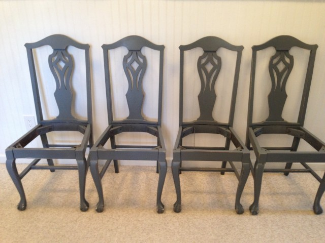 Mahogany chairs - with gray paint & light distressing