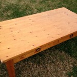World Market pine coffee table 02