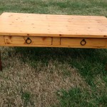 World Market pine coffee table 01