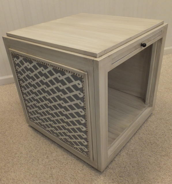 Modern cube-style end table with slide-out tray