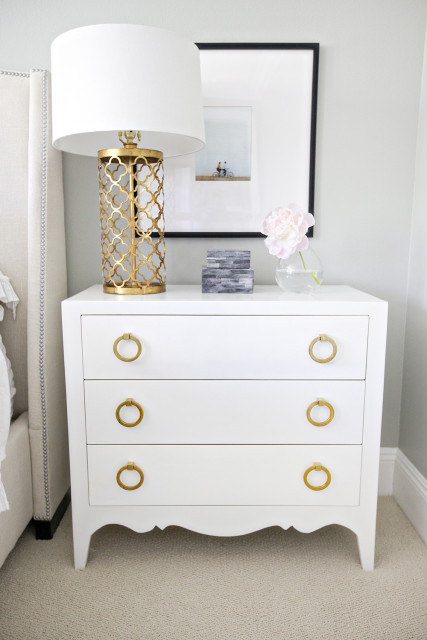 Small white dresser as nightstand