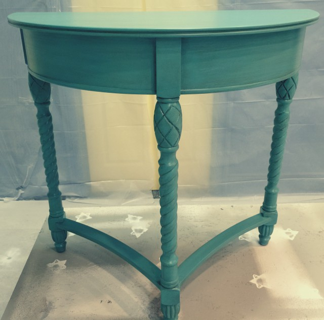 Teal Foyer Table