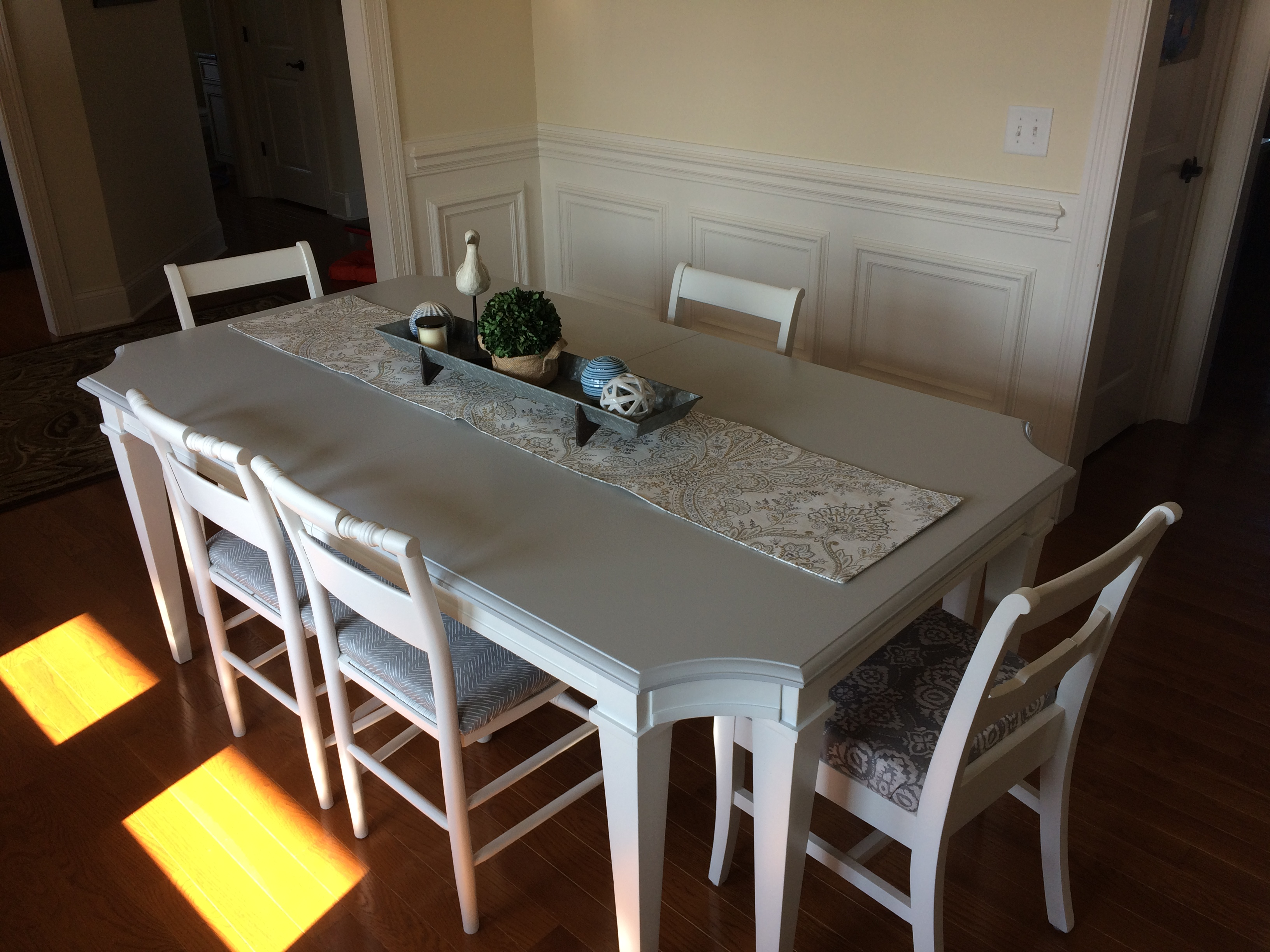 This Super Elegant, Solid Mahogany Dining Table Needed A Whole New Style. I  Accomplished That By Adding A Matte Gray Finish On The Top, And A Bright  White ...